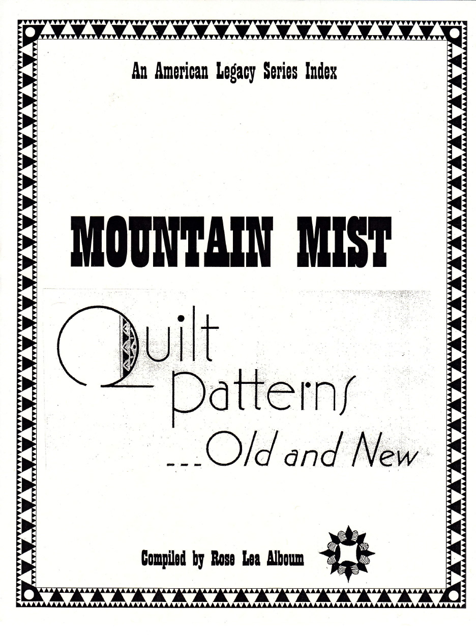 Mountain Mist Quilt Patterns Old and New